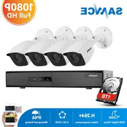 SANNCE H.264+ 8CH DVR Outdoor 1080P Security Camera System H
