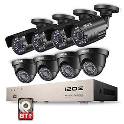 ZOSI 8CH HD 720P Video Security System 4 in 1 DVR with  HD 1