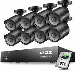 ZOSI H.265+ 4K  DVR 8MP Ultra HD Security Camera System 2TB