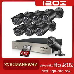 ZOSI 8CH H.265 5MP Lite DVR 1080P Home Security Camera Syste
