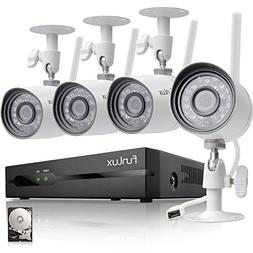 Funlux 4 Channel 1080p HDMI NVR 4 720p HD Indoor Outdoor Wir