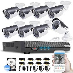 TECBOX Home Security Camera System AHD 8 Channel DVR  with 8