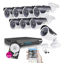 TECBOX 8 Channel Home Security Camera System 720P AHD DVR Re