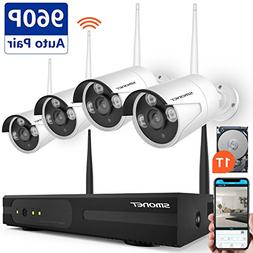 SMONET 4CH 1080P Wireless Home Security Camera Systems with
