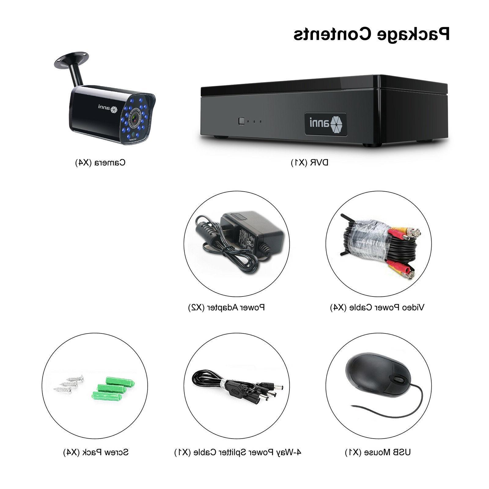 SmartSF 4CH 1080P Outdoor 720P Camera System Recorder