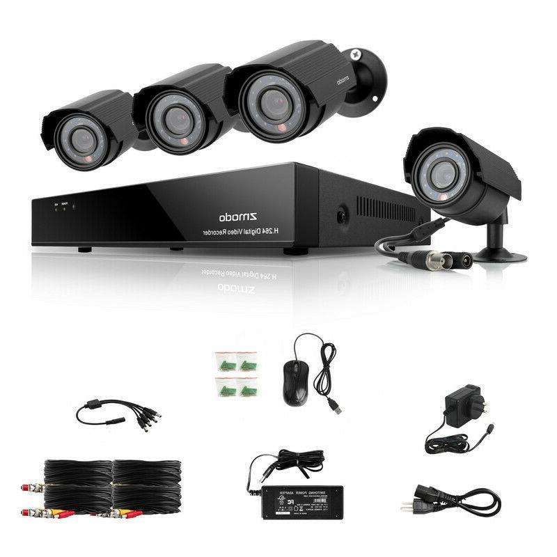 Zmodo 4CH 960H DVR HD 4 600TVL Home Outdoor IR Camera Securi