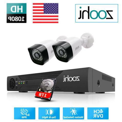 Zoohi CCTV Security Camera Outdoor 4/8CH 1/2TB HDMI
