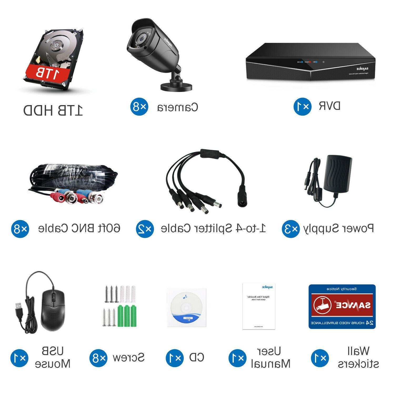 SANNCE HD-TVI 8CH / 4CH IR CUT Camera System 1TB