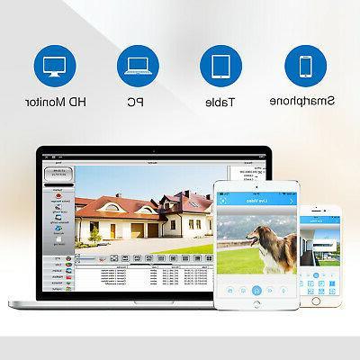 SANNCE 4CH 1080P DVR 3000TVL IR Outdoor Home System APP