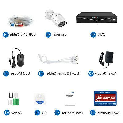 SANNCE 4CH DVR 1500TVL Outdoor Home System APP