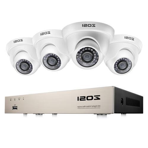 ZOSI 8CH 5MP Lite DVR 1080P Home Security Camera System Outd