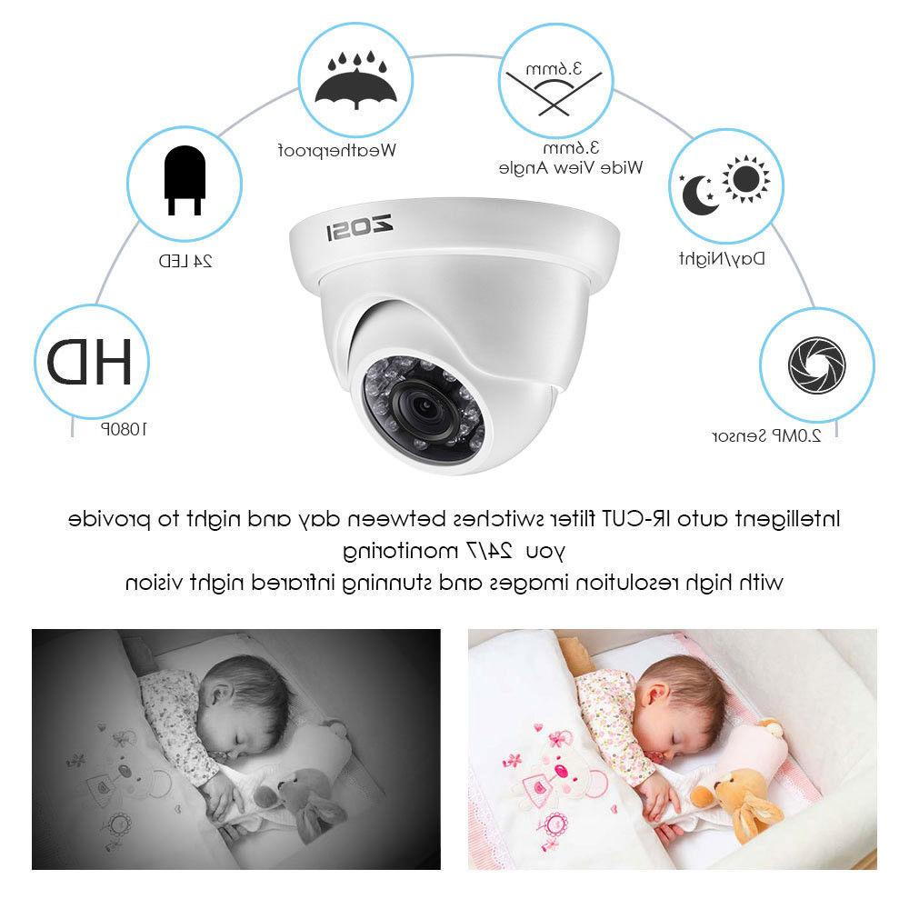 ZOSI 8CH 2MP Outdoor Dome Day Night Security System 1TB