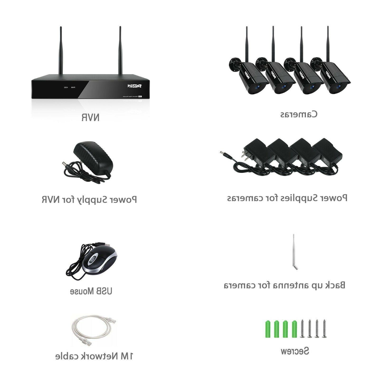 TMEZON 4CH Wireless 1080P NVR CCTV Outdoor Kit