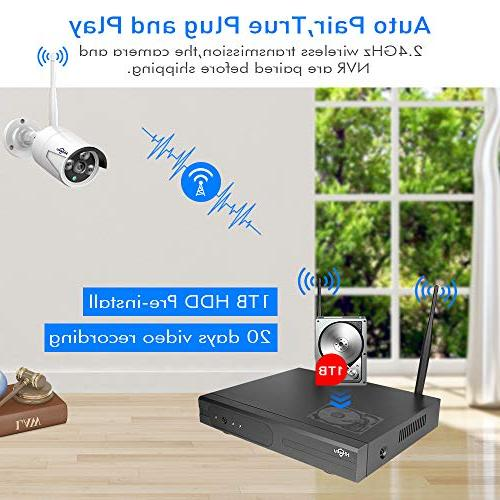 System Channel 1080P NVR 4Pcs 960P 1.3MP Night Vision Security Plug&Play,Easy Remote View,1TB HDD Pre-Install