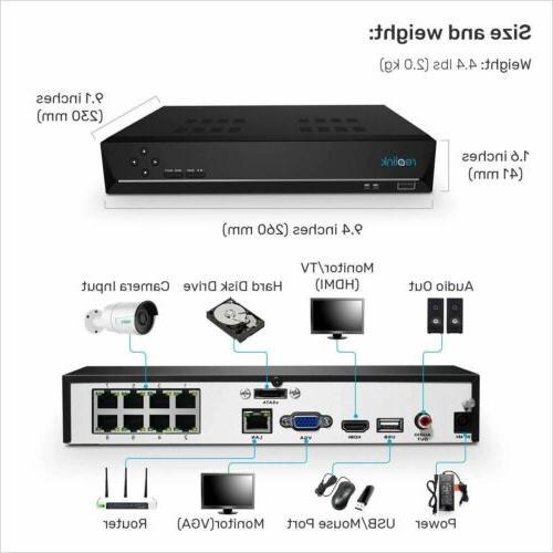 4K POE Camera IP Wired 8CH Recording RLK8-800B4
