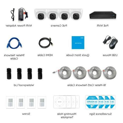 4K Camera 8MP 8CH POE Kit Recording HDD