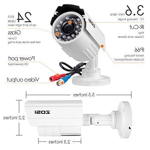 ZOSI Surveillance Camera Weatherproof CCTV Camera with Infrared and Night Vision