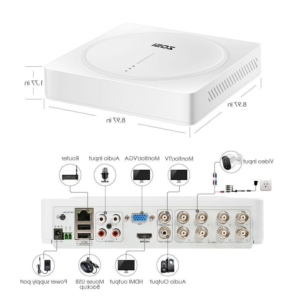 ZOSI H.265+ 5MP DVR 2TB Outdoor System Bullet Camera