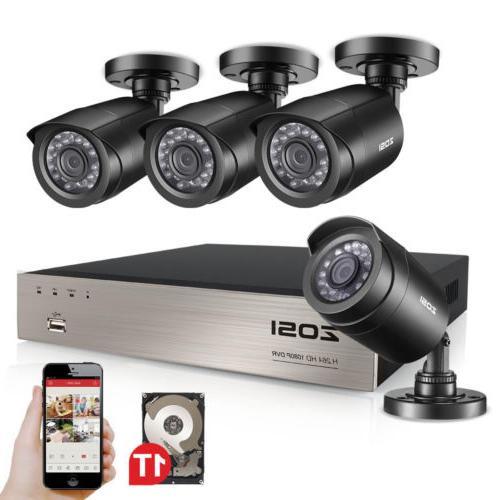 8CH 1080p DVR 2MP Outdoor IR-Cut Home Security Hard