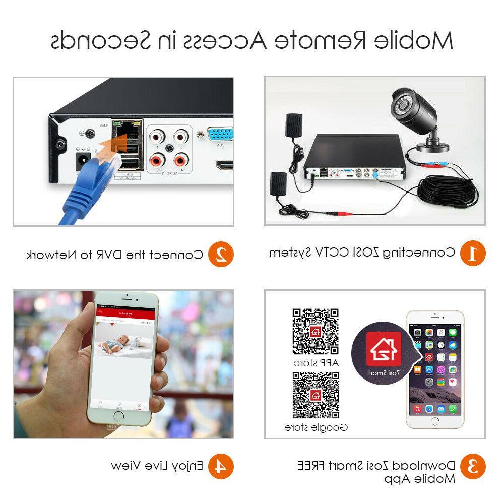 ZOSI 1080N DVR 1TB 720p Home Surveillance Security System