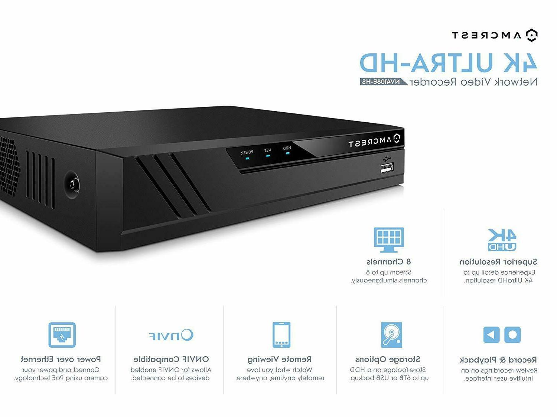 Amcrest 4K IP Camera System POE NVR 4X Outdoor
