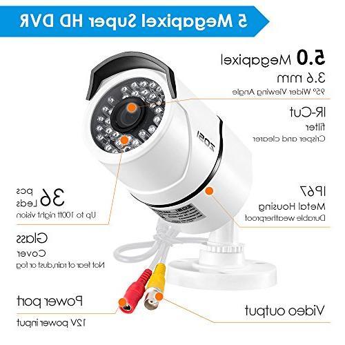 ZOSI Security Cameras System 2TB Hard 8 Super Megapixel Outdoor/Indoor Surveillance Bullet 8 5MP CCTV