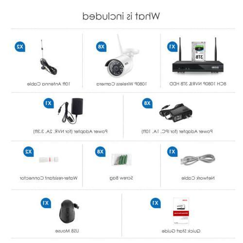 ZOSI H.265+ Security IP 3TB Hard Drive WIFI NVR