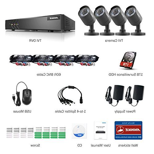 ANNKE Camera System DVR with Surveillance Hard Drive 1080P 2.0MP Bullet alert with images
