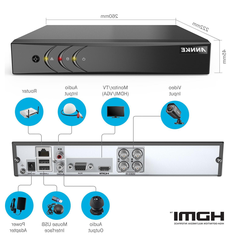 ANNKE H.264+ 4CH Lite 2MP Security Camera IR Day