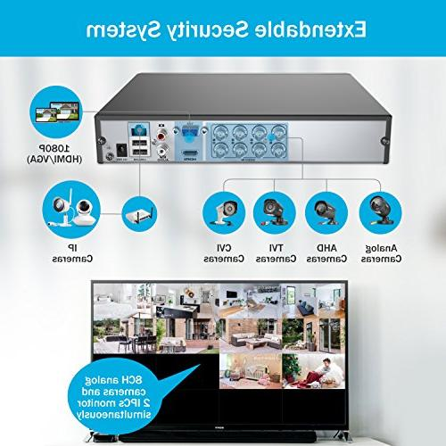 ANNKE 8CH HD-TVI Camera System 1080P DVR Recorder and 720P 1280TVL Fixed Cameras with IP66 Weatherproof Day/Night & Email Alert