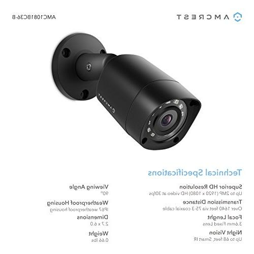 Amcrest Full-HD 1080P 8CH 2MP Outdoor Bullet Cameras, 66ft Vision, Hard Drive