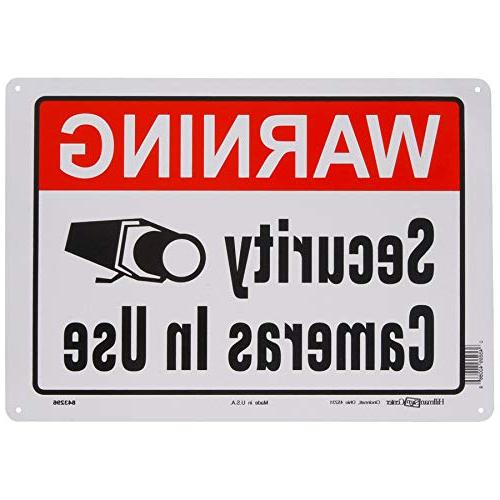 Hillman 843296 Warning Cameras In Use Sign, White, Red Black Aluminum 10x14 1-Sign