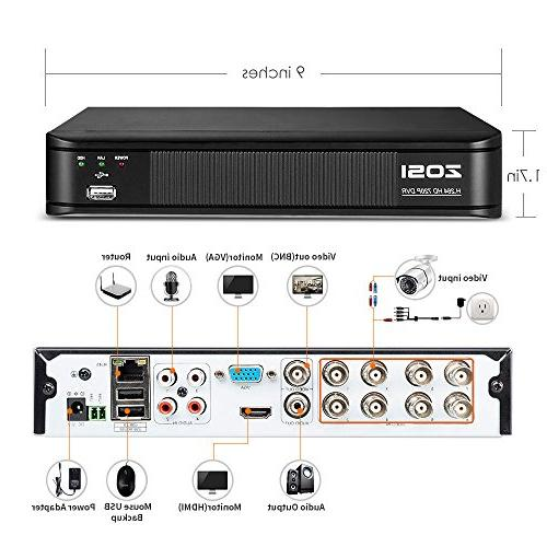 ZOSI 1080N Recorder HD 4-in-1 System,Motion Detection,Remote Control,Email Alarm,No