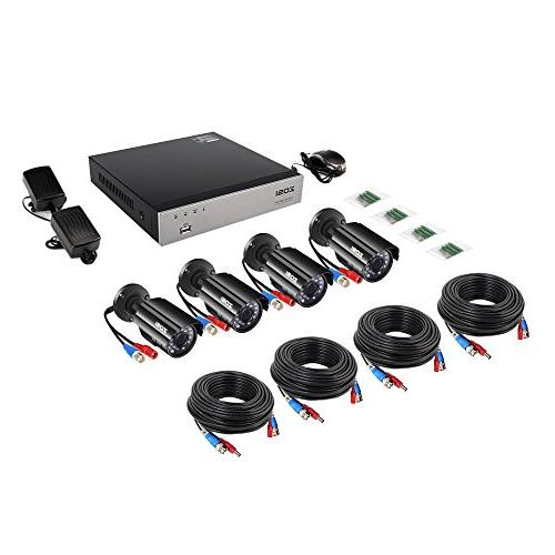 ZOSI 8-Channel HD-TVI Video System recorder 4x HD 1280TVL Cameras Drive ,Motion Alert, Smartphone& Easy Remote Access