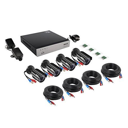 ZOSI 8-Channel HD-TVI Video System recorder 4x HD 1280TVL Cameras Drive ,Motion Alert, Smartphone& Easy Remote Access