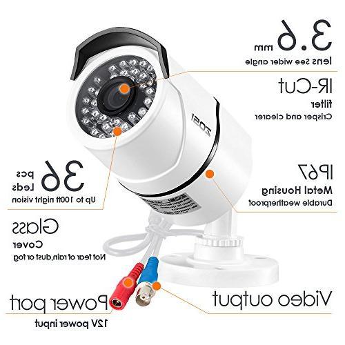 ZOSI 8CH TRUE 1080P Video 4X Outdoor Weatherproof Surveillance Camera System 1TB White