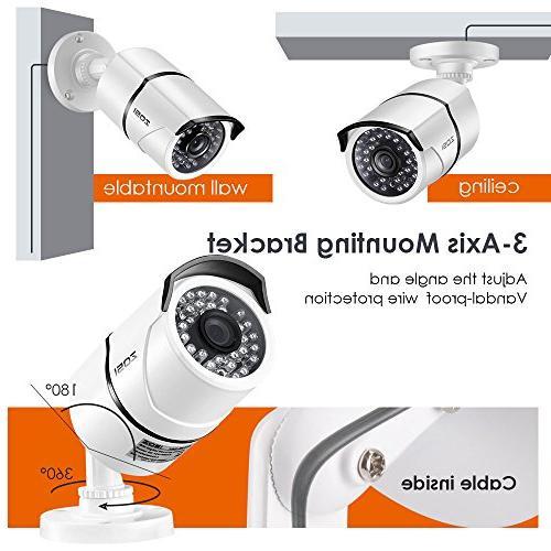 ZOSI 8CH 1080P Video 4X 1080P Weatherproof Surveillance Camera 1TB HDD