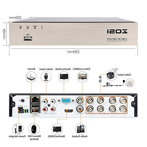 ZOSI 8CH 1080N/720P 4-in-1 DVR Digital 720P,1080P Security System