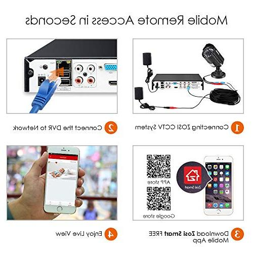 ZOSI 8CH System Video DVR Bullet/Dome CCTV NO Hard Smartphone, Access