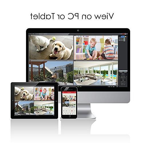 Video recorder HD 1280TVL Indoor/Outdoor Cameras NO Hard ,Motion Smartphone& Easy Access