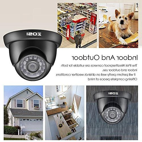 ZOSI Security 8CH 1080N/720P Surveillance with 1.0MP CCTV Cameras Hard Motion Alert, Access