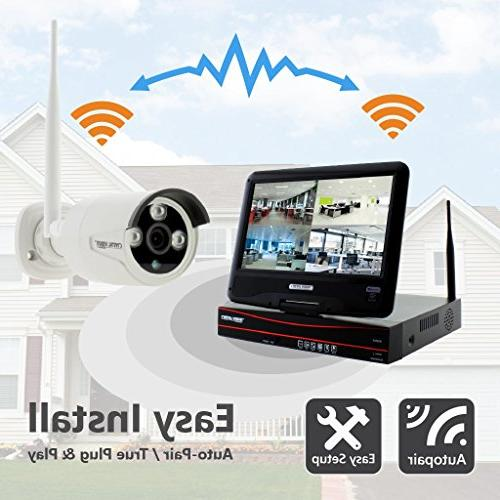 Crystal All-in-One HD Wireless Surveillance w/ 2TB Monitor & Router, Auto Pair