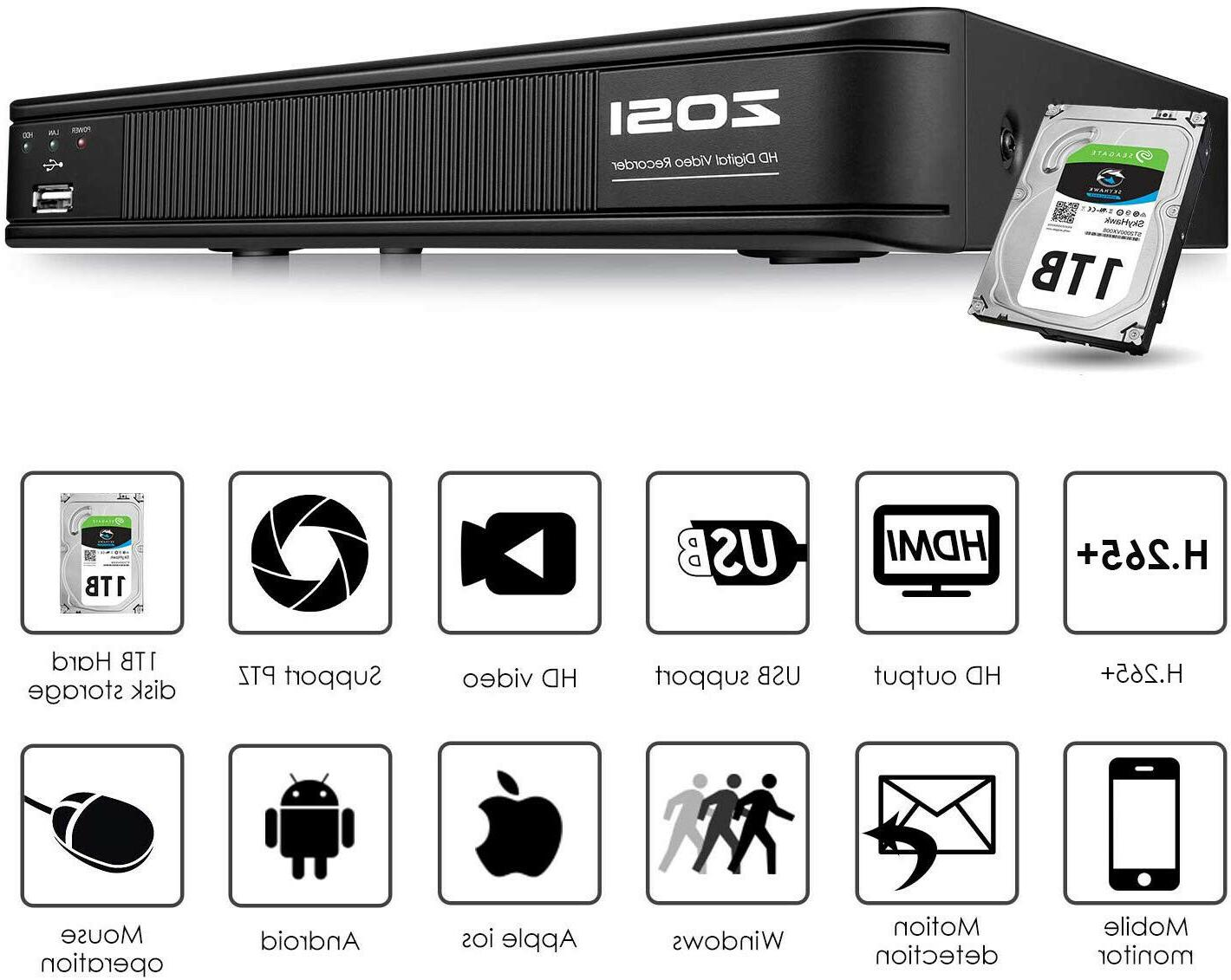 ZOSI H.265+ 5MP Lite Digital Video Recorder 1080P DVR for Se