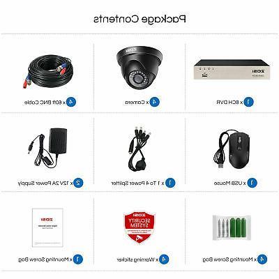 ZOSI 8CH 5MP DVR IR Outdoor CCTV Security