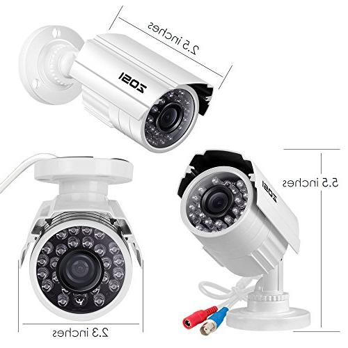 ZOSI Surveillance System,4PCS Weatherproof Security CCTV Camera with and Night Vision
