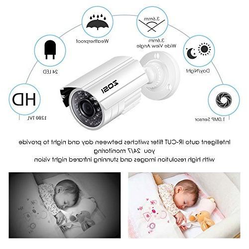 ZOSI Surveillance System,4PCS Weatherproof Camera with Vision