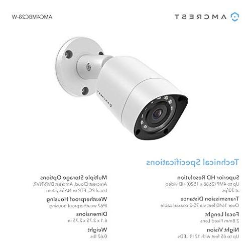 Amcrest Security Camera 4MP 8CH x Bullet Dome Analog Cameras, Pre-Installed 1TB