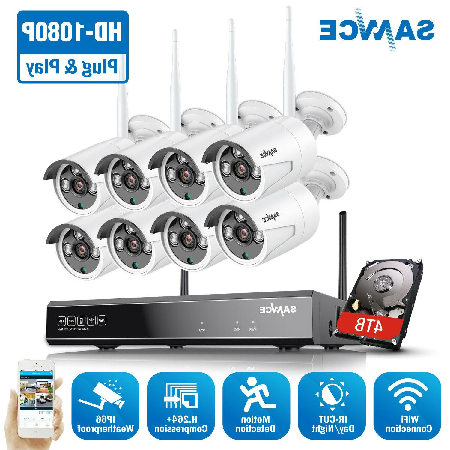 SANNCE Wireless 1080P 8CH Security System H.264+ NVR