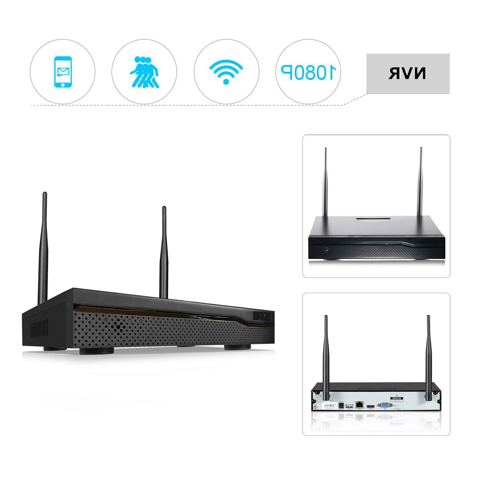 Xtech Wireless 4CH 1080P NVR Outdoor indoor Camera CCTV Kit