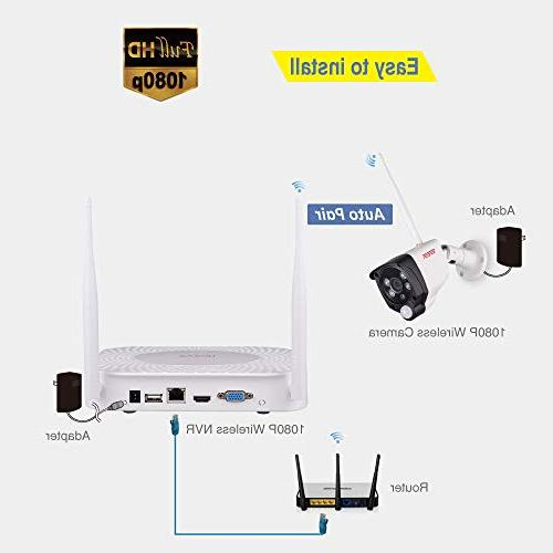 Tonton Wireless Expandable System, 4CH with 1TB 2PCS Outdoor with PIR Record,